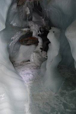 Ice cave in the Longyearbreen glacier on Svalbard