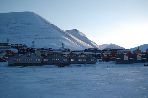 Longyearbyen on Svalbard during winter