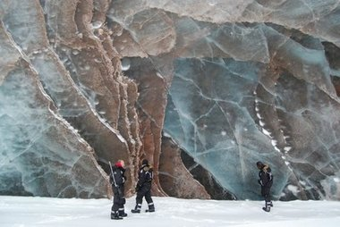 Sediments in a surging glacier
